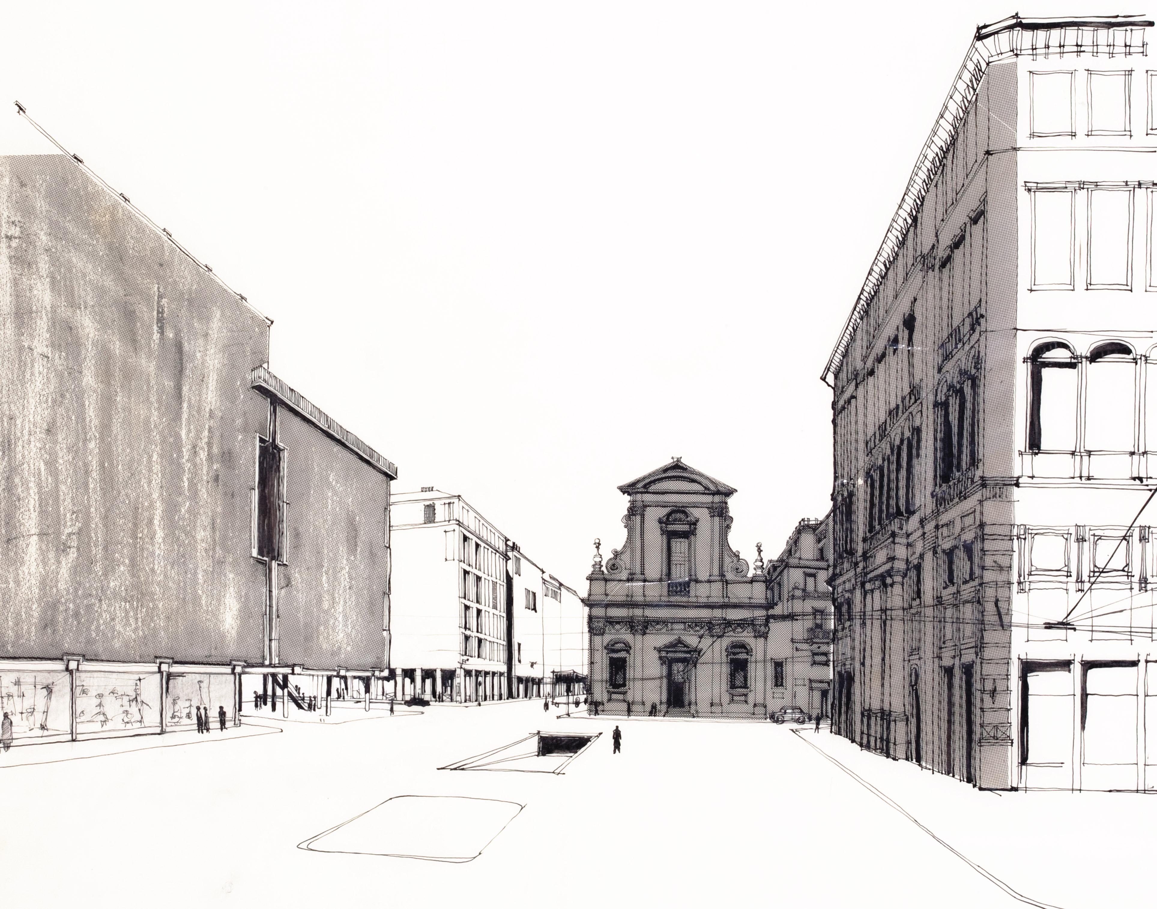 Ignazio gardella disegno per la sede la rinascente di for Disegno di architettura online