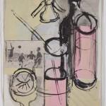 """Ettore Sottsass Junior, Studi per grafica, s. d. (1947), collage e china su carta, mm 440 x 325, sul recto: """"Sottsass Jr.""""(Progetto per grafica editoriale per Cocktails Portfolio, edizione Stamperia Artistica Nazionale, Torino)"""