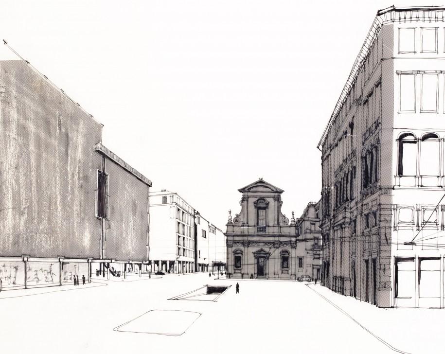 Ignazio Gardella, progetto per la sede la Rinascente di Roma, 1958-1961. Disegno a china su lucido, retino