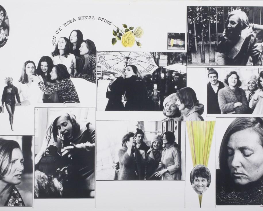 """Carla Cerati, Non c'è rosa senza spine (pannello n. 8, serie """"Percorso. Racconto in dieci stazioni della vita di una donna""""), 1977. Stampa fotografica in bianco e nero, gelatina bromuro d'argento con interventi."""